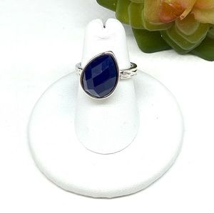 Premier Designs Faceted Blue Ring Silver Plated Sz 6 Faux Stone Pear Shaped